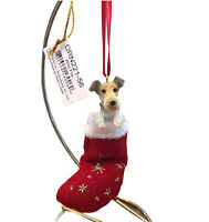 Wire Fox Terrier Christmas Stocking Ornament E & S Pets Dog New Gift