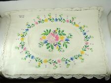 Vintage Hand Embroidered Cotton+Linen Cushion Throw Pillow Cover Floral 38X 29cm