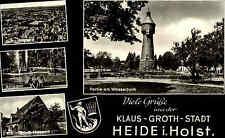 HEIDE Holstein 4-fach-AK ua. Wasserturm Turm alte Postkarte ~1950/60