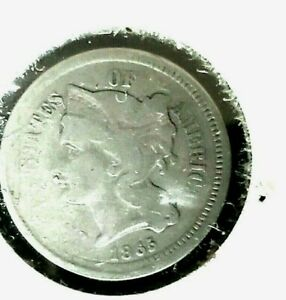 1965 U S Mint Three Cent Coin(3c).Very Fine/GREAT COND. FOR A 156 YEAR OLD COIN.