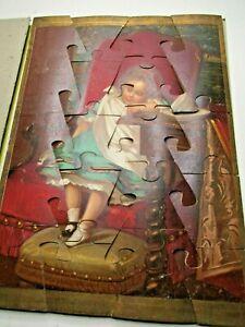 """BEAU PUZZLE BOIS """"ENFANT ENDORMIE APRES LE GOUTER"""" 1890-1900 CHROMOLITHOGRAPHIE"""