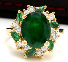 7.04Ct Natural Emerald & Diamond 14K Solid Yellow Gold Ring
