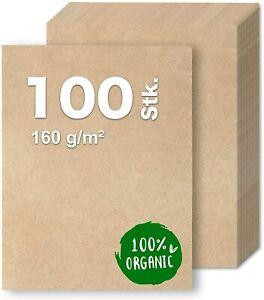 100x Kraftpapier DIN A4 Papier braun aus Naturkarton geeignet als Bastelkarton,