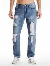 New Men's GUESS Slim Straight Jeans sz 32 Del Mar Fit Destroyed LIGHT BLUE
