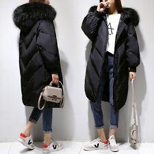 Fashion Women's Winter Warm White Duck Down Coat Faux Fur Collar Hooded Overcoat