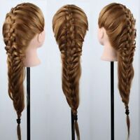 AU 22''/24''100% Human Hair Train Head Mannequin Makeup+Clamp Hairdressing Multi