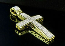 Men's Sterling Silver Yellow Gold Finish Real Diamond Dome Cross Pendant 1.6""