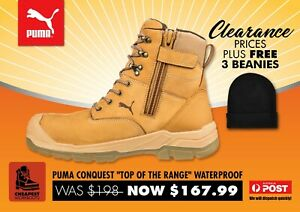PUMA conquest work boots plus FREE beanies boot 630727 zip lace waterproof shoes