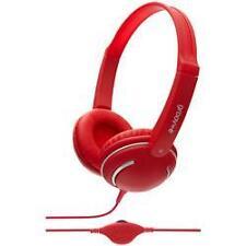 Groov-e GV897 Streetz Stereo Full Over Ear Mp3 Headphones Volume Control Red New
