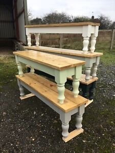 4 5 6 7 8 ft Solid Pine Bench Farmhouse style Kitchen Dining Bespoke Handmade