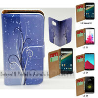 For LG Series Mobile Phone - Blue Swirl Theme Print Wallet Phone Case Cover
