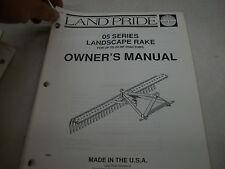 Land Pride Owner's PARTS Manual 05 SERIES LANDSCAPE RAKE