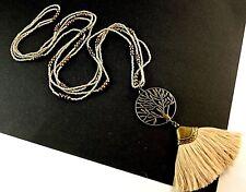 Tree of Life Light Tan Tassel Long Dangle Pendant with Tan & Gold Beads # B52