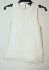 WHITE LADIES PARTY TOP LACE SIZE 6 NEW LOOK BLOUSE FULLY LINED