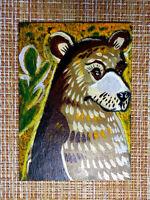 ACEO original pastel painting outsider folk art brut #010519 surreal bear