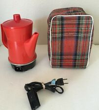 WORKING Red Camping Coffee Maker Cornwall Electric Travel Kettle Plus Bag