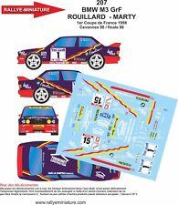 DECALS 1/24 REF 207 BMW M3 ROUILLARD FINALE DES RALLYES 1998 RALLYE RALLY