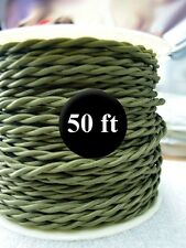 Olive Green Cloth Covered Twisted Wire 50ft Roll - Lamp Cord - Antique Fan