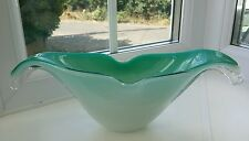 Vintage 1950/60's Murano / Czech green, white and clear cased art glass bowl