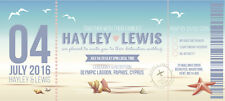 Sample Wedding Invitation Ticket Beach Shell Boarding Pass Plane!