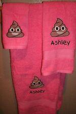 Emoji Poop Turd Personalized 3 Piece Bath Towel Set Any Color Choice