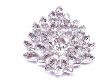 MT39-5pcs 42mm Stick On Diamante FLOWER Cluster Wedding Crystal Toppers Brooch