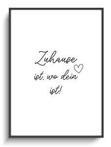 Geschenk Einzug Haus A4 Spruch Zuhause Herz Wandbild Poster Deko Druck Zimmer