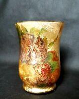 Stunning Vintage Hand Made Gold Gilding Gilt Leaf Floral Design Glass Vase