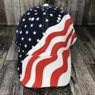 AMERICAN FLAG PATRIOTIC USA HAT CAP WAVY RED WHITE BLUE ADJUSTABLE ONE SIZE OSFM