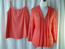 Avenue Sweater Set Size 14/16 Coral Tank and Open Sweater Twinset