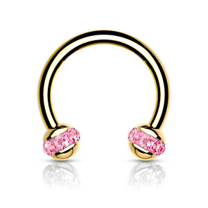 1pc Crystal Paved Gold Circular Barbell Horseshoe Lip Nipple Septum Ring 16g