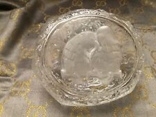 Antique,Vintage CRYSTAL ,Cut Glass! IRREGULAR HEXAGON with cute pair of birds!!!