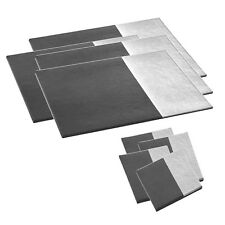 8pc Set of Silver Grey Geometric Coasters and Placemats in Faux Leather Effect