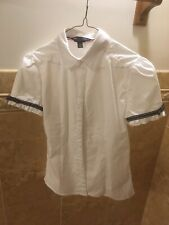 Nwot French Toast Girls White Uniform Shirt Size 14 With Blue Trim On The Sleeve