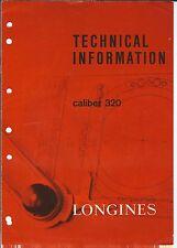 Technical Information Bulletin 1971 Vtg Mg-072 - Longines Wristwatch Caliber 320
