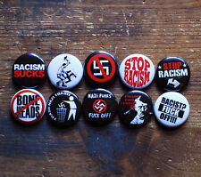 "10 X 1"" ANTI-RACIST BUTTONS pin punk badges racism sucks nazi punks F*** off!"