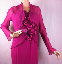 New Womens VM Collection Silk Chiffon Satin Gown 2PC Dress Jacket Rose Size 8