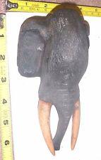 "Vtg Hand-Carved Wood ELEPHANT HEAD Wall Display - 7""H  Rustic/FOLK ART - NICE!!"