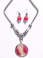 Women New Style Superior Red Alloy Polishing Fedeless Necklace & Earrings Set