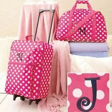 Girls Luggage Set Monogrammed Cloth Duffel Bag Rolling Suitcase Clutch Pink J
