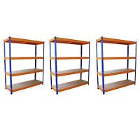 3 Estanterias Metalicas Acero Inoxidable Sin Tornillos Azules y Naranjas 150cm