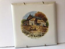 Mexico Ceramic Glazed Tile 8�x8� Hand Painted Barn, Fence with aPlate Hanger