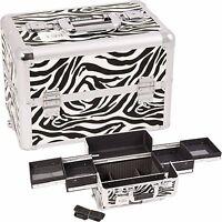 Makeup Train Case Cosmetic Rolling Organizer Storage Trolley Sunrise - Zebra NIB