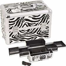 Zebra Makeup Train Case Cosmetic Organizer Storage Trolley Sunrise NIB