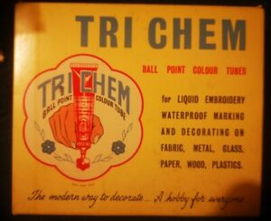 Tri-Chem Liquid Embroidery Fabric Paints x4 Tubes With Inserts TRI CHEM
