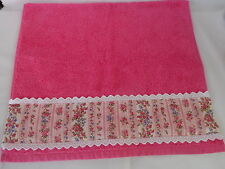 Bathroom hand or guest towel (mid pink), striped floral print trim. Ideal gift