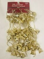 Vtg GOLD Plastic Bells & Holly Garland Christmas Tree Decoration 18ft Strand