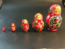 Five Wooden Red Russian Nesting Stacking Dolls