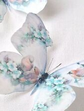 4 Shabby Chic Duck Egg Flowers Birds 3D Butterflies Butterfly Decals Decorations
