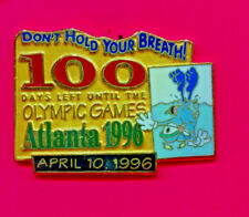 1996 OLYMPIC IZZY PIN DON'T HOLD YOUR BREATH PIN 100 DAYS TO GO APRIL 10 1996